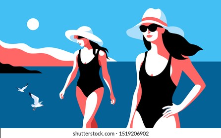 Summer holidays concept. Two female characters wearing swimsuits, big white hats and sunglasses, walking on the beach. Sea, sky, sun, gulls, girls. Vector illustration