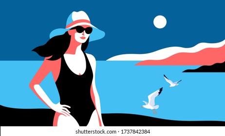 Summer holidays concept. Young woman wearing swimsuit, hat and sunglasses, standing on the beach. Sea, sky, gulls, girl. Vector illustration