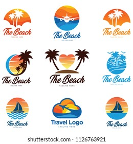 Summer holidays design elements set. Retro and vintage templates. Labels, Badges, Posters, T-shirts, Apparel. Vector set. Beach vacation, party, travel, tropical paradise, adventure.