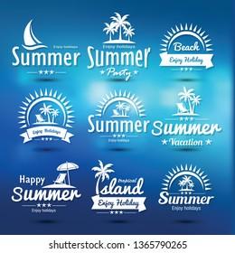 Summer holidays design elements set. Retro and vintage templates. Labels, Badges, emblem, vector illustration
