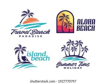 Summer holidays design elements set. Retro and vintage templates. Labels, Badges,emblem,vector illustration - Vector