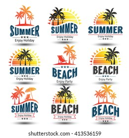 Summer holidays design elements set. Retro and vintage templates. Labels, Badges,emblem,vector illustration