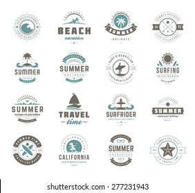 Summer holidays design elements and typography set. Retro and vintage templates. Labels, Badges, Posters, Emblems. Vector set. Beach vacation party, tropical paradise adventure.