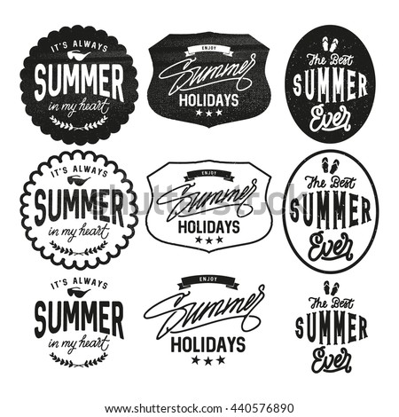 summer holidays design elements typography set stock vector royalty