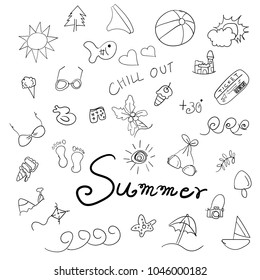 Summer Holidays doodles Icon set.Vector illustration.Summer vacation concept.