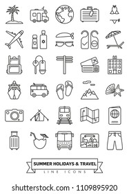 Summer holidays and global travel line icon collection