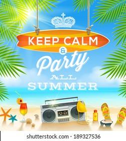 Summer Holidays Greeting Design   Vector Illustration