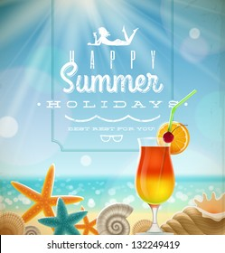 Summer holidays illustration with greeting lettering and tropical resort symbols on a sunny beach