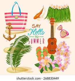 Summer holidays illustration. Set