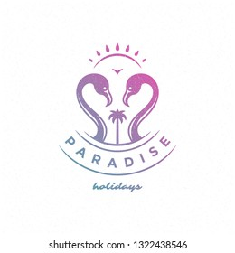 Summer holidays label or badge typography slogan design for poster or greeting card vector illustration. Flamingo symbol.