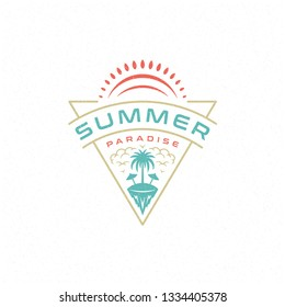 Summer holidays label or badge typography slogan design for poster or greeting card vector illustration. Palm tree symbol.