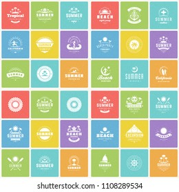 Summer holidays labels and badges design elements vector set. Retro and vintage style graphics good for tee print, t-shirts, posters, greeting cards.