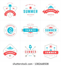 Summer holidays labels and badges typography vector design, Summer silhouettes and icons for posters, greeting cards and advertising. Vintage style.