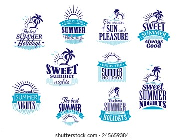 Summer holidays labels or emblems with sunrise, palms and waves in shades of blue color for travel and tourism industry design