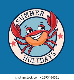 summer holidays logo with crab