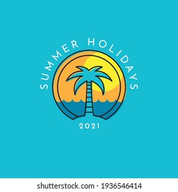 Summer holidays logo with a palm tree, sea and sunset on a background. Vacation, travel and tourism symbol.