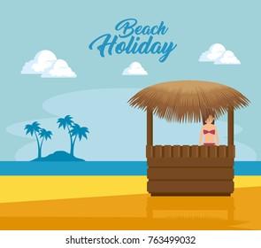 summer holidays on beach poster