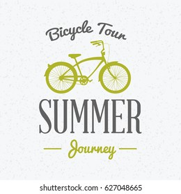 Summer holidays poster. Bicycle journey label. Bicycles for rent. Vector illustration with green and gray colors on textured background