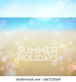 Summer holidays. Poster on tropical beach background