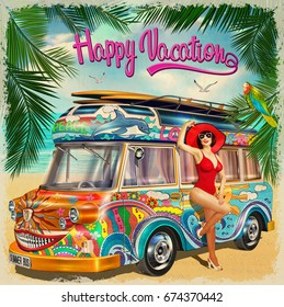 Summer holidays poster with retro bus and pin-up girl.