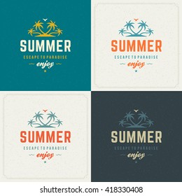 Summer Holidays Retro Typography Labels or Badges Design and Vector Backgrounds for Party Posters Flyers and Greeting Cards. Textured Backdrop.