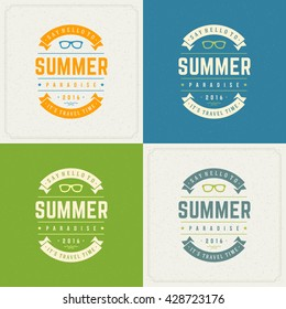 Summer Holidays Retro Typography Labels or Badges Design and Vector Backgrounds for Party Posters Flyers