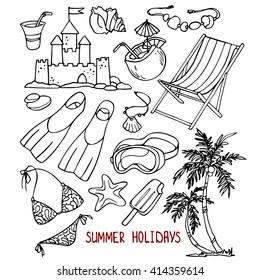Summer holidays sketch drawing set.