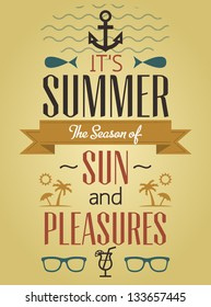 Summer Holidays and Travel Typographic Greeting Card