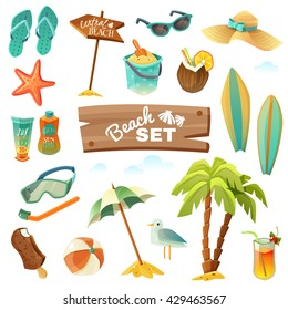 Summer holidays tropical beach vacation accessories cartoon images set with surfboard suncream inflatable ball sunglasses gull icecream palms tropical cocktail diving mask vector illustration