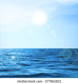 Summer holidays. Tropical sea and sky with bright sunlight. EPS10 vector