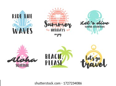 Summer holidays typography inspirational quotes design for posters or apparels set vector illustration. Hand drawn style symbols and objects.