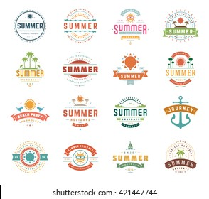 Summer Holidays Typography Set, Retro and Vintage Templates.