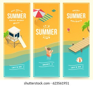 summer holidays, vacation, set of banners, isometric design