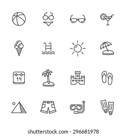 Summer holidays and vacation thin line icons