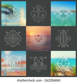 Summer holidays, vacation and travel line drawing signs and emblems on a blurred backgrounds - vector illustration