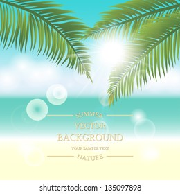 Summer holidays vector background. Sea view with palm leaves on a sunny day