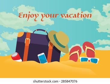 Summer holidays vector illustration,flat design traveling bag and beach  concept