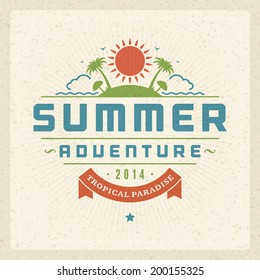 Summer holidays vector typography. Summer vacation message retro design vector background.