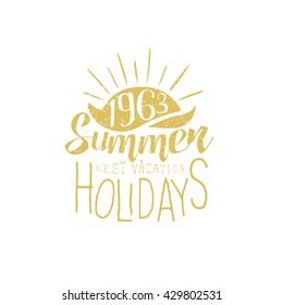 Summer Holidays Vintage Emblem With Sunset Creative Vector Design Stamp With Text Elements On White Background
