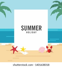 In summer holiday,Summer theme vertical blank board
