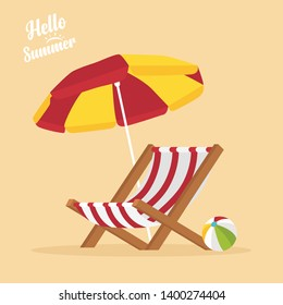In summer holiday,Vacation and travel concept. Beach umbrella, beach chair