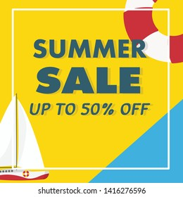 In summer holiday,Yacht in the sea on the background summer sale template banner