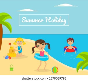 Summer Holliday Banner Template with Cute Kids Playing on Tropical Beach Vector Illustration