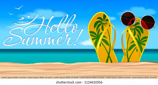Summer holydays illustration. Colorful beach slippers with sun eyeglasses on.