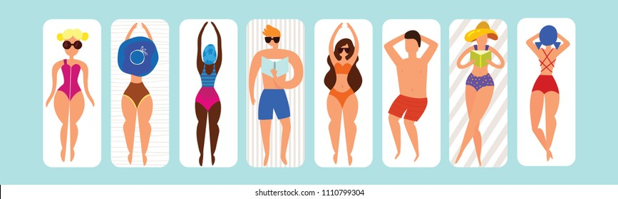 Summer horizontal banner with funny characters sunbathing on the beach . Beach background, Pool party, Vector illustration.