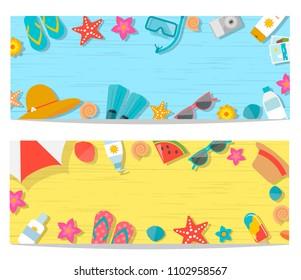 Summer horizontal banners set, vector illustration. Holiday and vacation, sea travel and beach