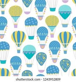 Summer hot air ballon seamless pattern. Balloon festival design. Creative uneven decoration.
