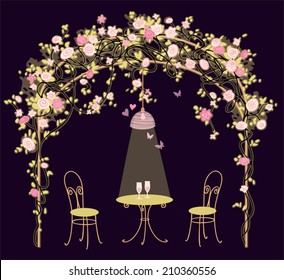 Summer house with climbing roses, table and chairs. Night romantic background. Floral vector illustration.