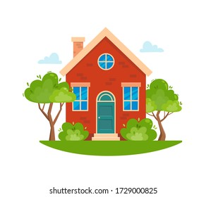 Summer House object. Cartoon home and rural cottage. Vector illustration isolated on white background for web and graphic design.