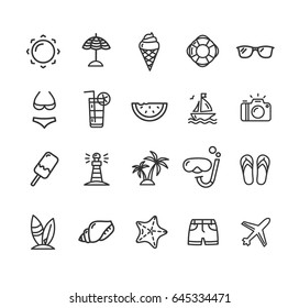 Summer Icon Black Thin Line Set Symbol of Tourism for Web and App Isolated on White Background. Vector illustration